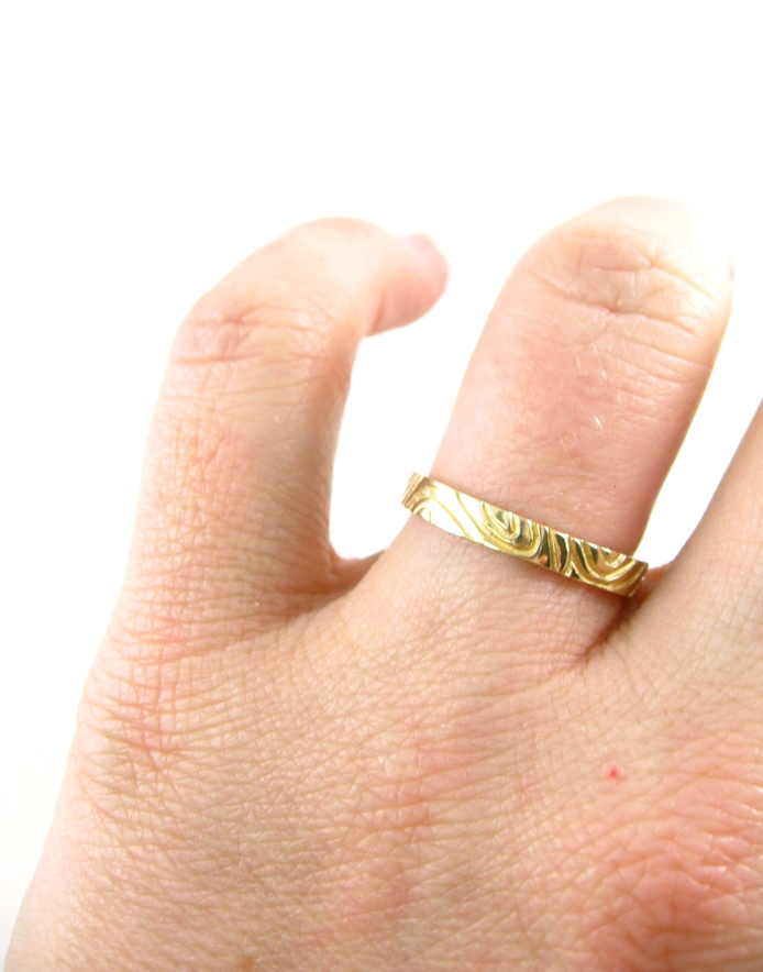 FINGERPRINT WEDDING RING RECYCLED 14K GOLD Sharon Z Jewelry
