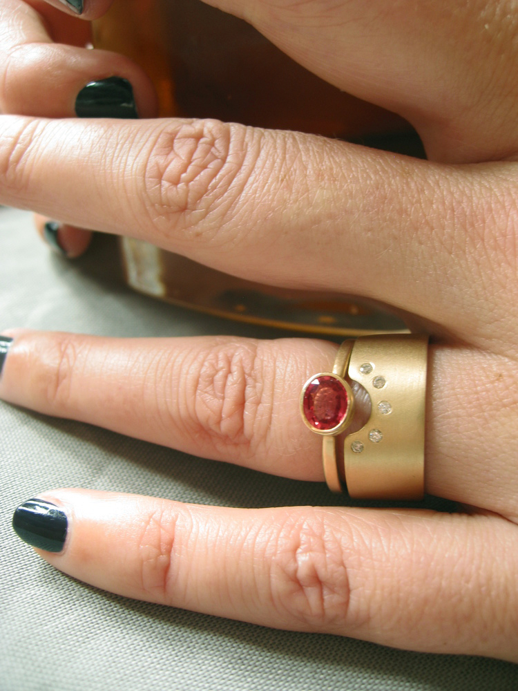CIGAR BAND SAPPHIRES POST CONSUMER DIAMONDS RECYCLED 14K GOLD