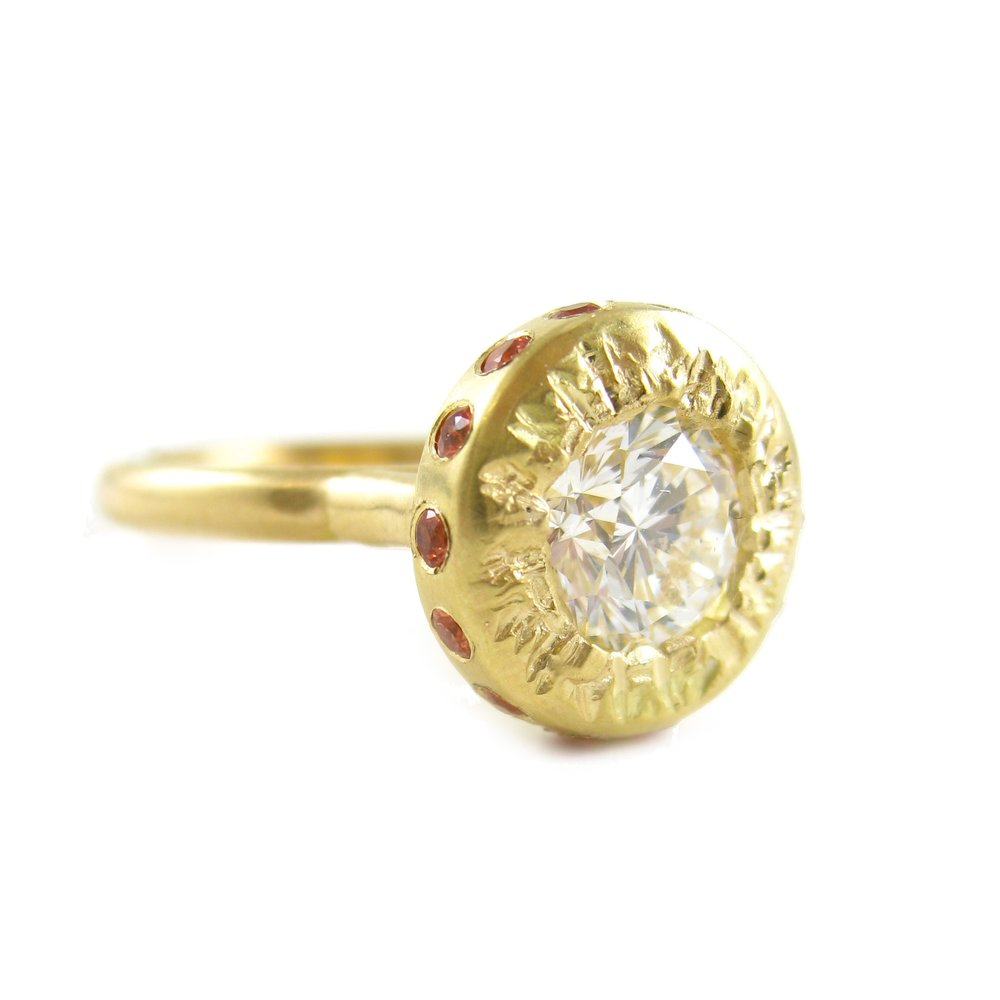 Custom RIng - 18 karat gold with customer's own diamond and padparadscha sapphires - The alternative to a halo setting - Sharon Z Jewelry