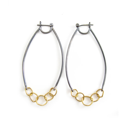 007acf06c Earrings | 14k yellow gold | recycled gold | oxidized sterling silver |  chain hoops