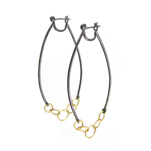 ec5ca9af0 LINKED HOOPS - RECYCLED OXIDIZED STERLING SILVER - RECYCLED 18K YELLOW GOLD.  Earrings | 14k ...