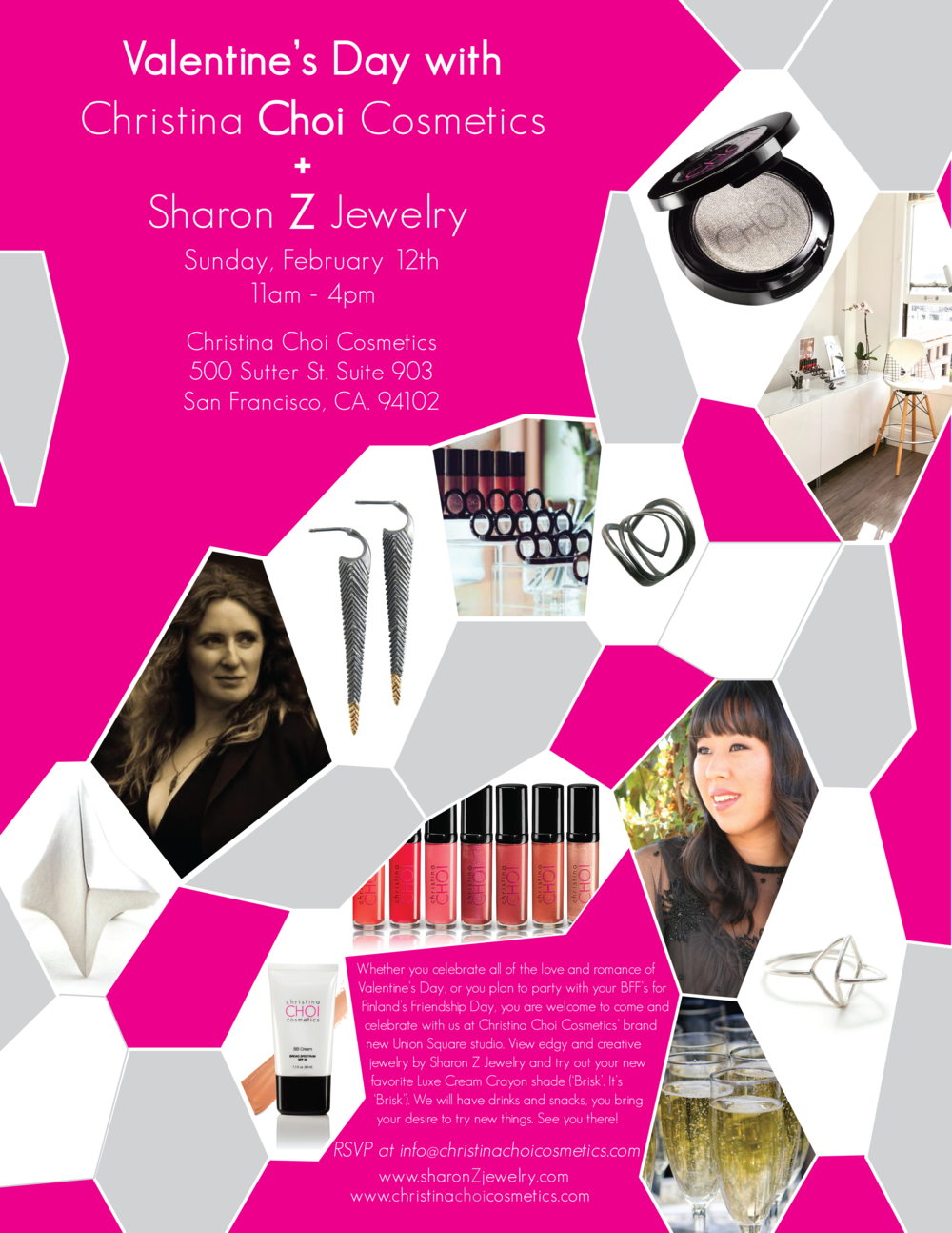 Valentine's Day at Christina Choi Cosmetics with Sharon Z Jewelry