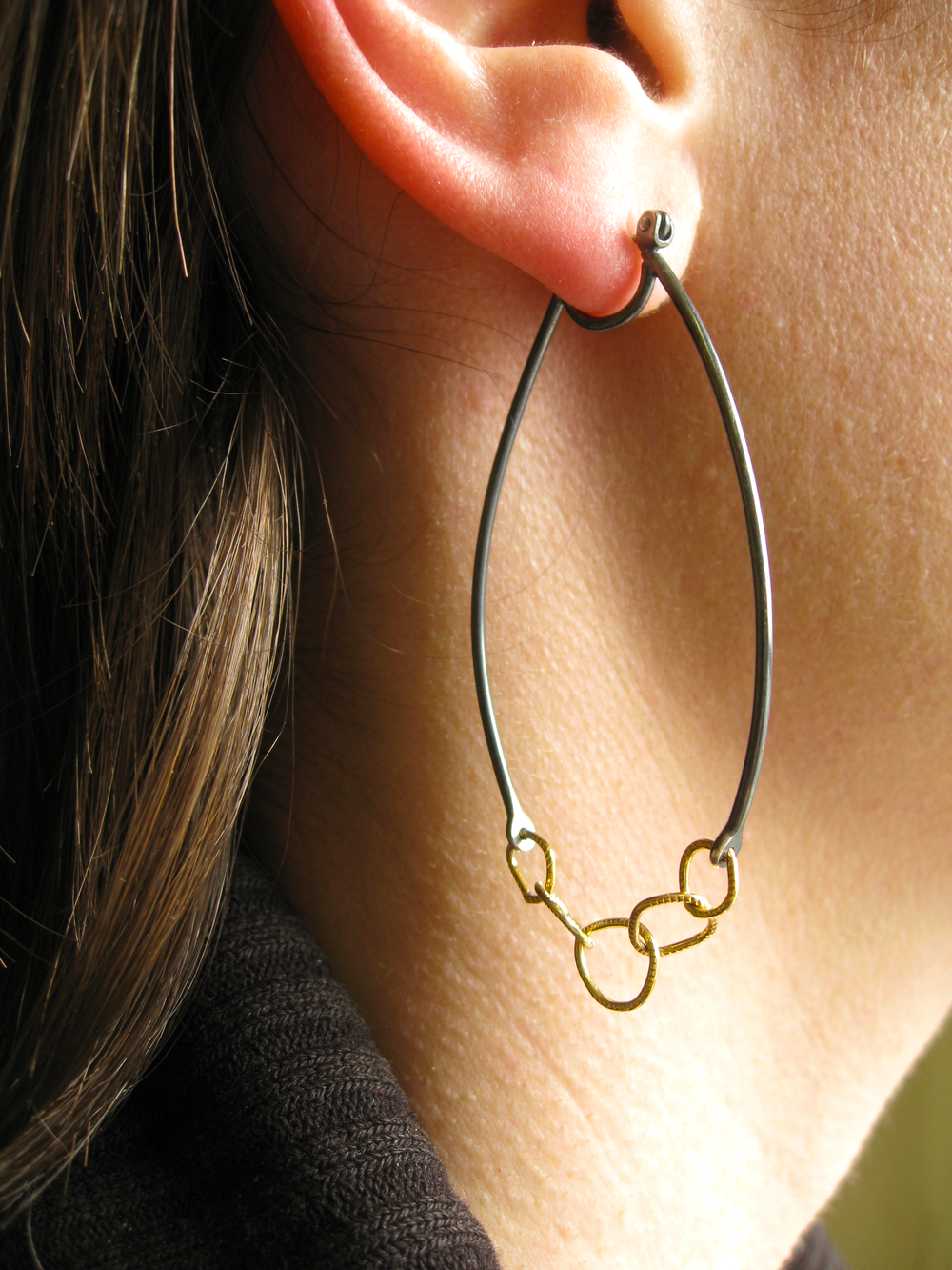 a70a93261 LINKED HOOPS - RECYCLED OXIDIZED STERLING SILVER - RECYCLED 18K YELLOW GOLD  — Sharon Z Jewelry