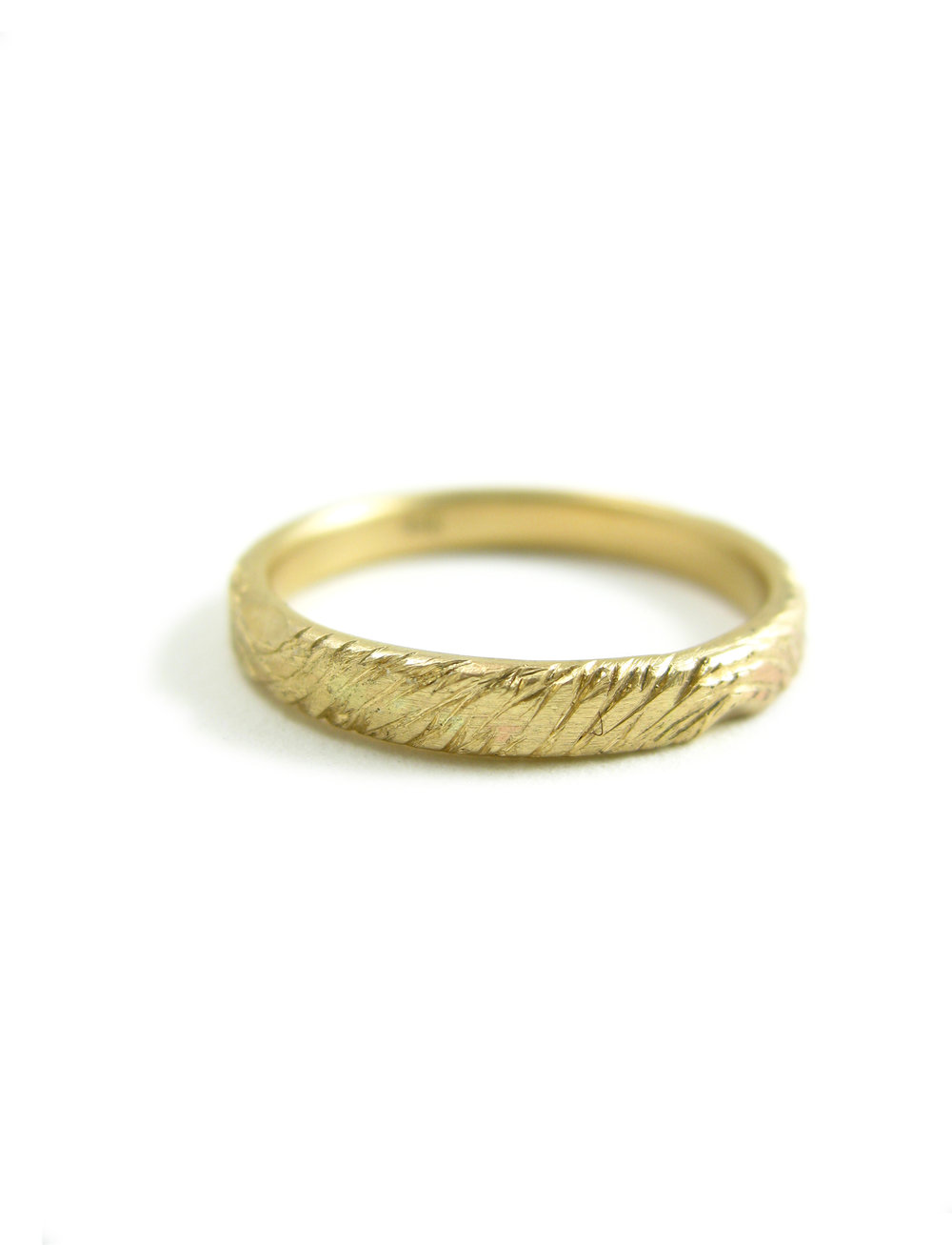 WOODLAND WEDDING BAND RECYCLED 14K GOLD ECO FRIENDLY Sharon Z