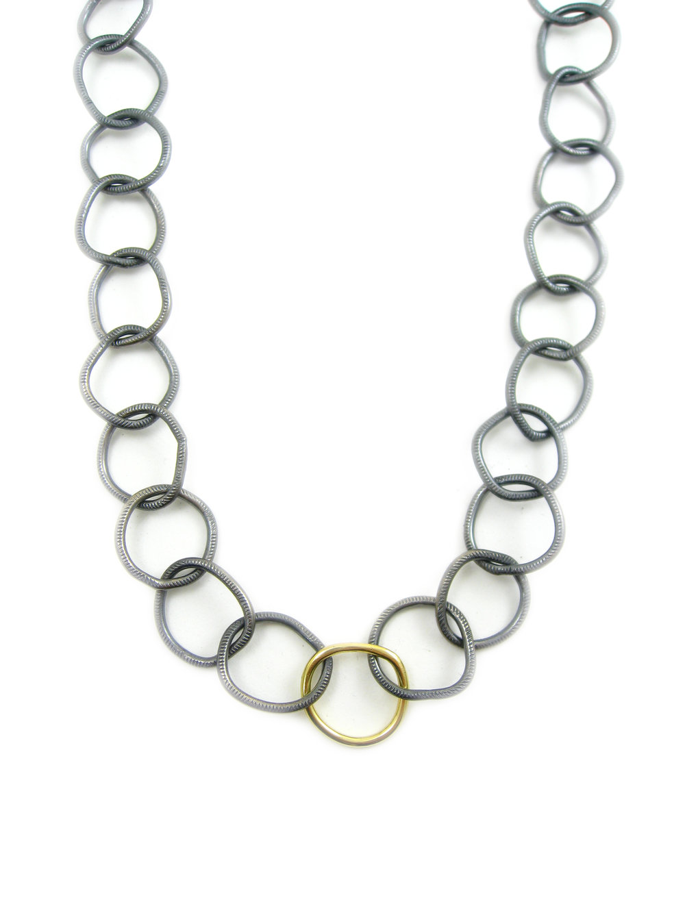 oxiidzed silver chain with 18 karat gold link - recycled silver and recycled gold made in San Francisco - Sharon Z Jewelry