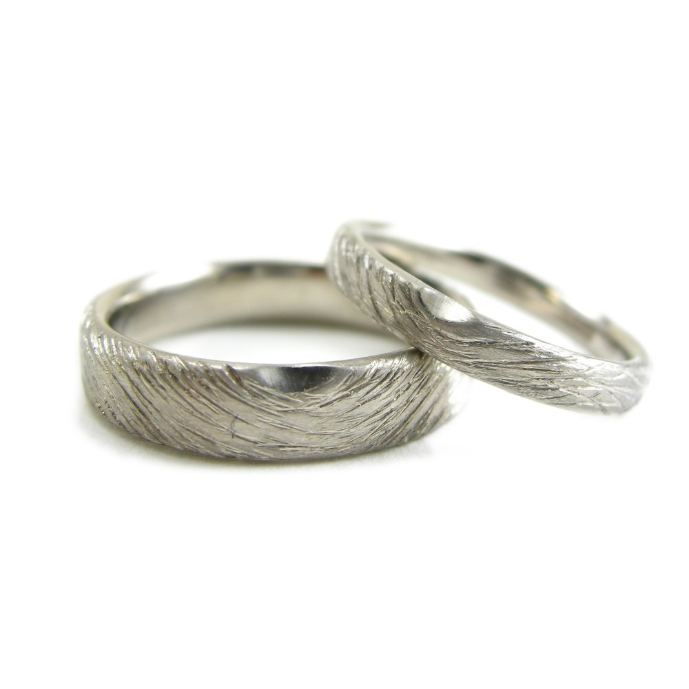 Woodland wedding ring wedding band pair his and hers in recycled palladium made in San Francisco - Sharon Z Jewelry by Sharon Zimmerman RI-068-Pd.jpg