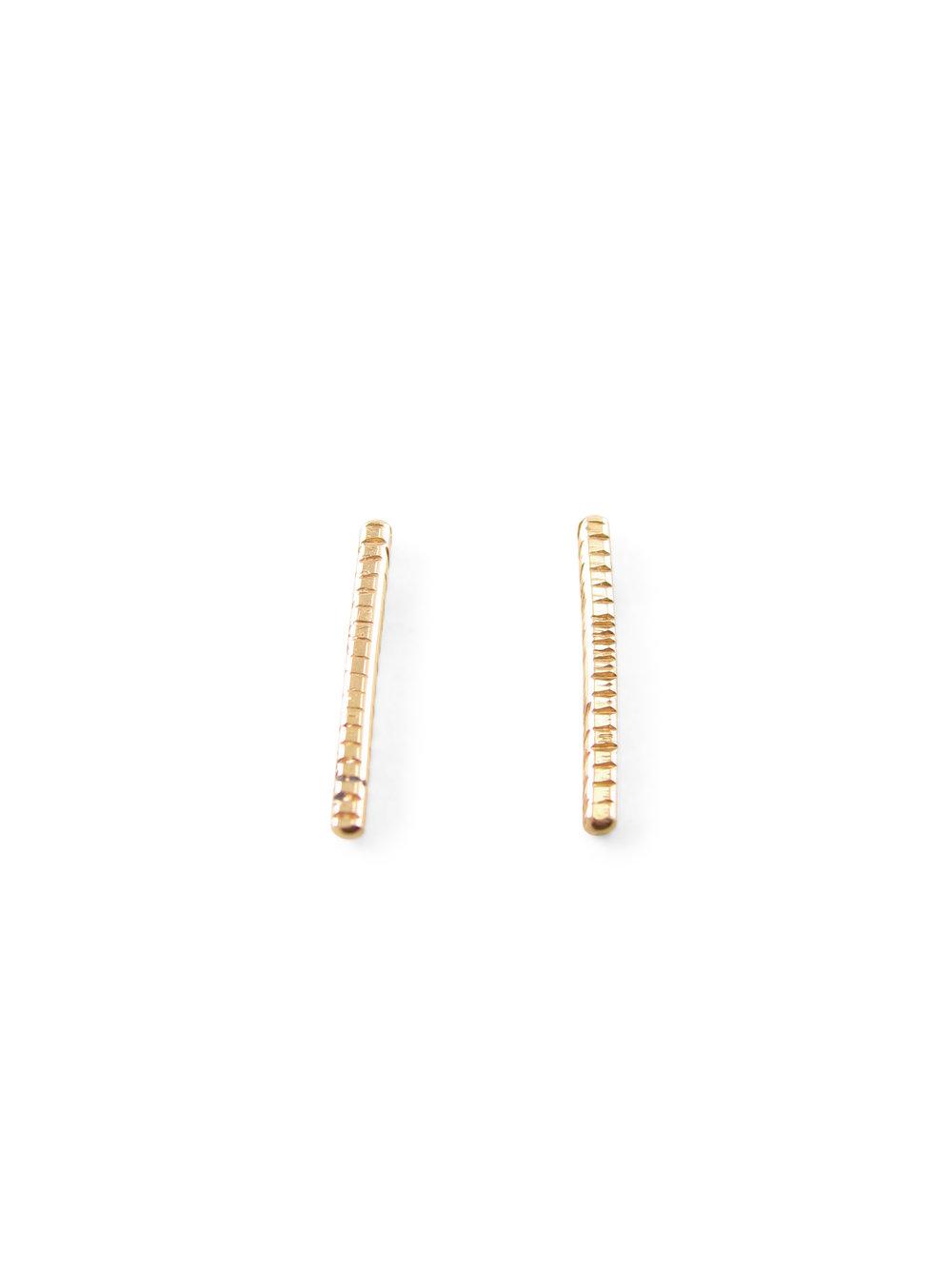 EXTRA SHORT GOLDEN STEM EARRINGS RECYCLED 14K GOLD Sharon Z Jewelry