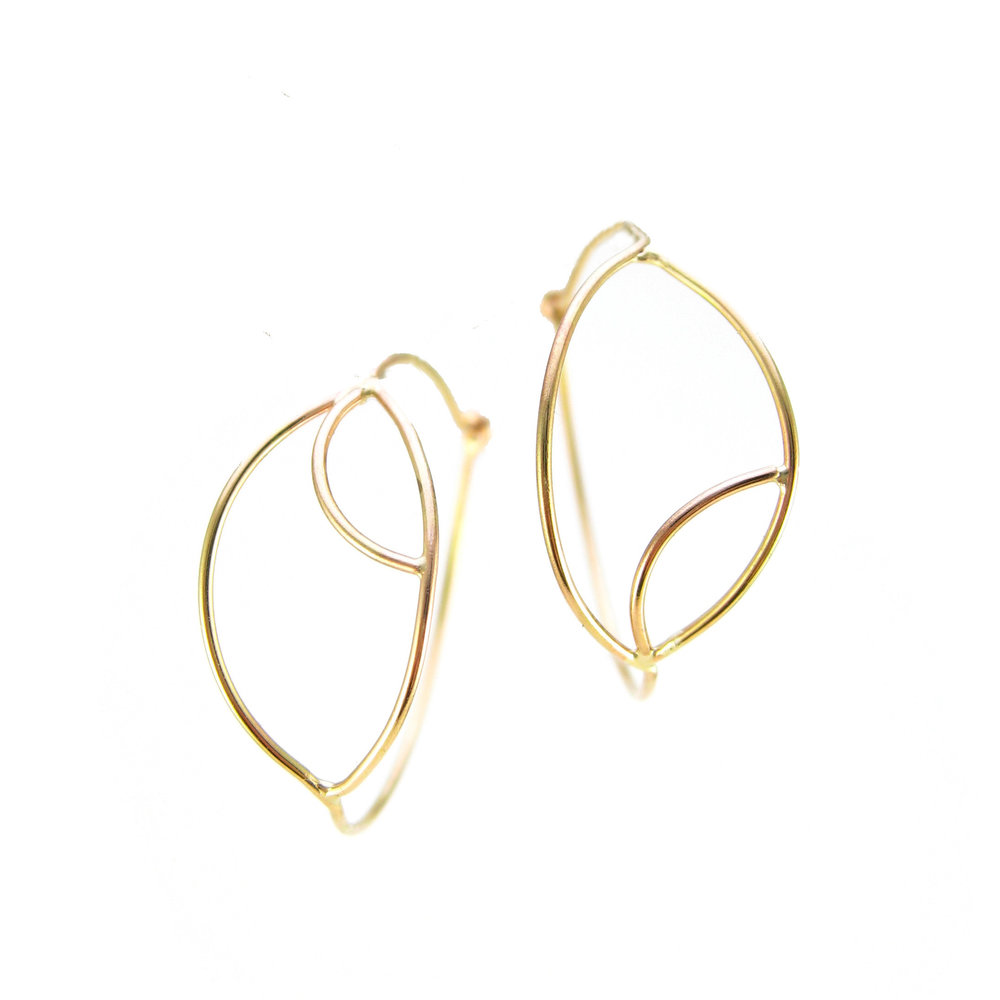 gold evil eye hoop earrings recycled 14 karat gold yellow or rose gold