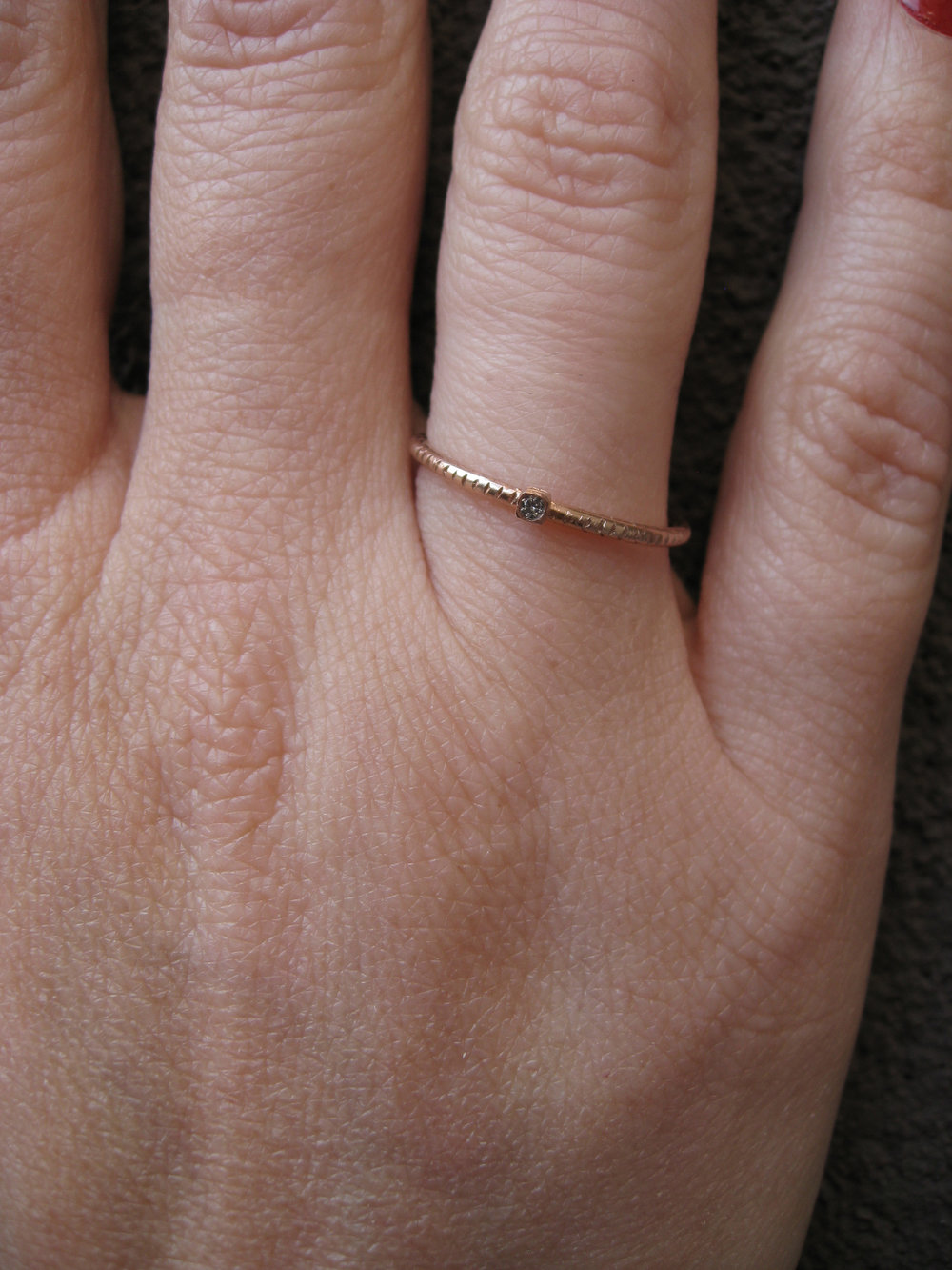 DIAMOND STACKING RINGS RECYCLED 14K GOLD RECYCLED DIAMONDS