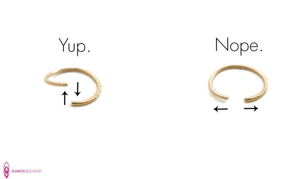 Left image: the right way to open your nose ring. Right image: makes puppies cry.