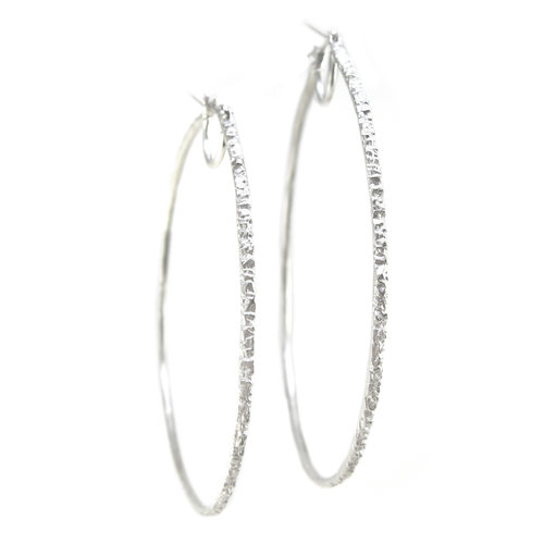fcd407f4f5a70 EXTRA LARGE METEORITE HOOP EARRINGS - RECYCLED SILVER