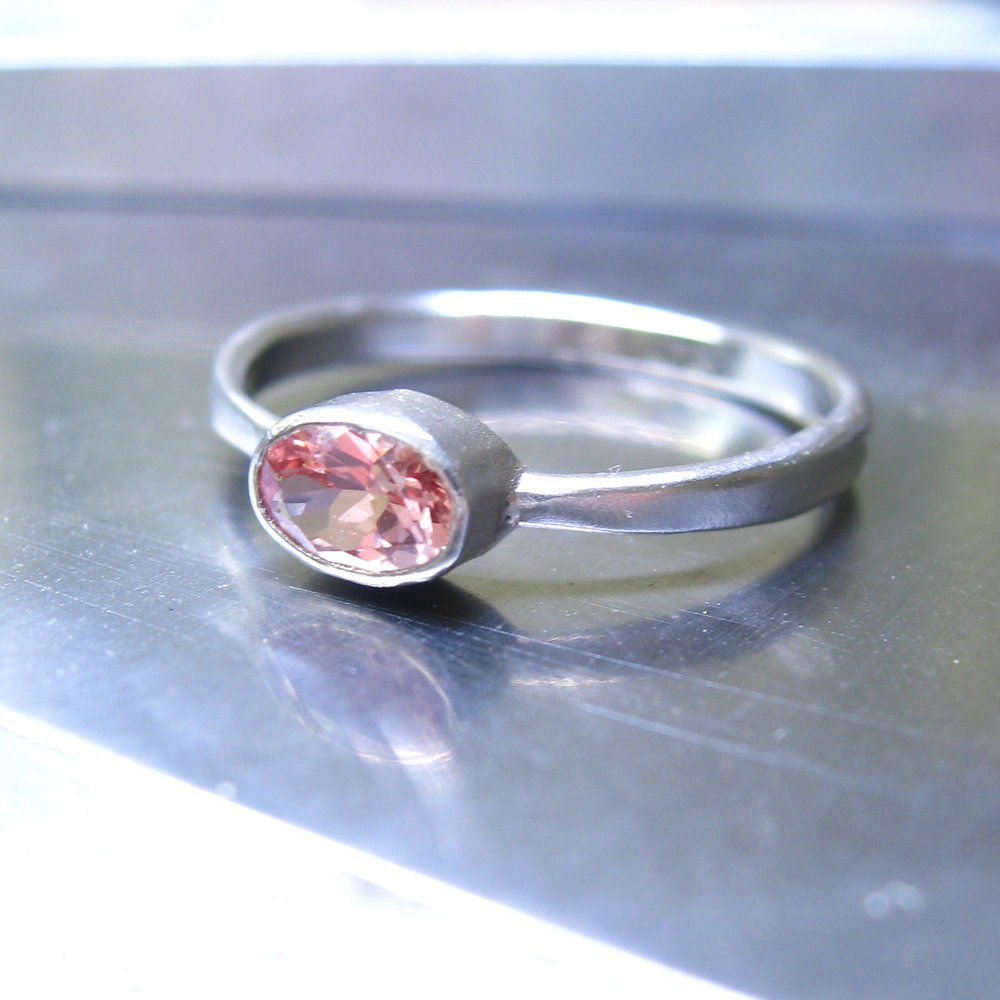 lab grown pink sapphire engagement ring in recycled palldium - made in San Francisco - Sharon Z Jewelry - ethical jewelry.jpg