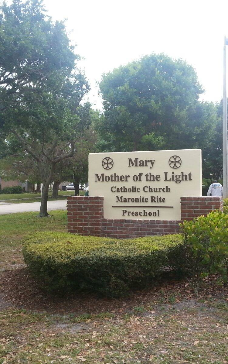 Mary, Mother of the Light Catholic Church Sign