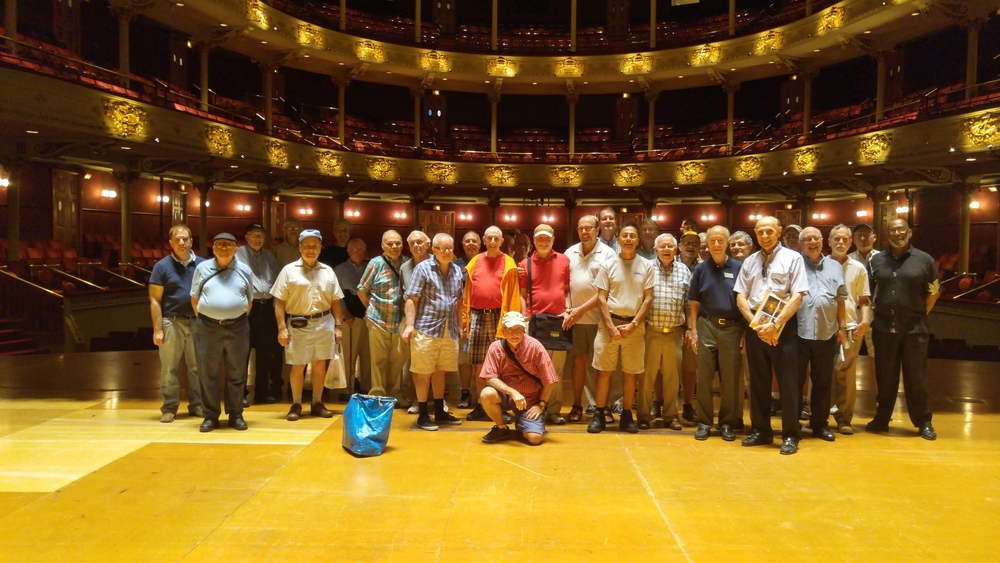 left : at william way with guest speaker, nellie fitzpatrick, mayor's lgbt liaison;  above : on a behind-the-scenes tour of the academy of music