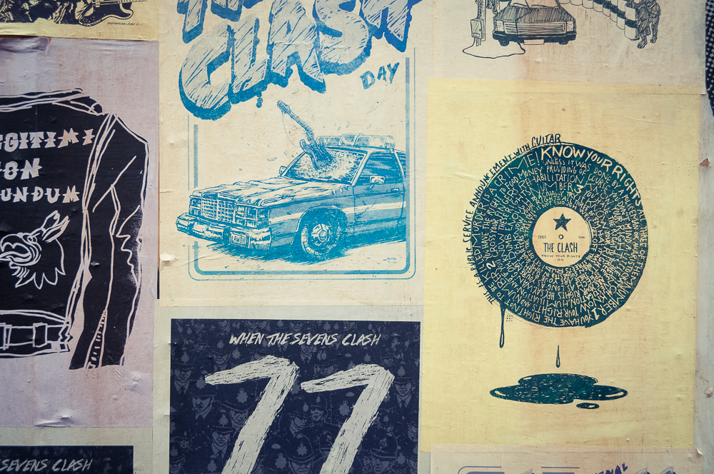 As seen in the mix with other International Clash Day posters, wheat-pasted on the streets of Seattle's Capitol Hill neighborhood.