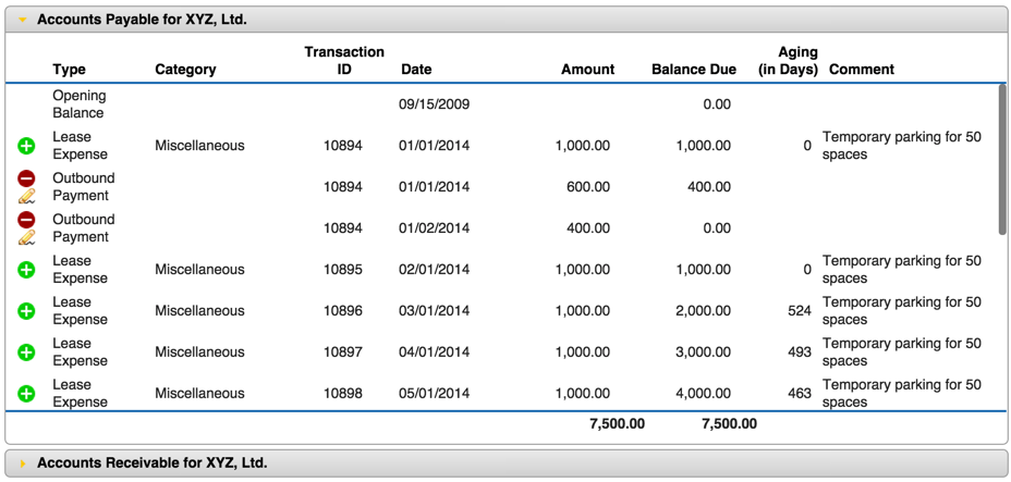 The Payments screen allows you to manage both linked and unlinked payments s well as track your running balance for each account.