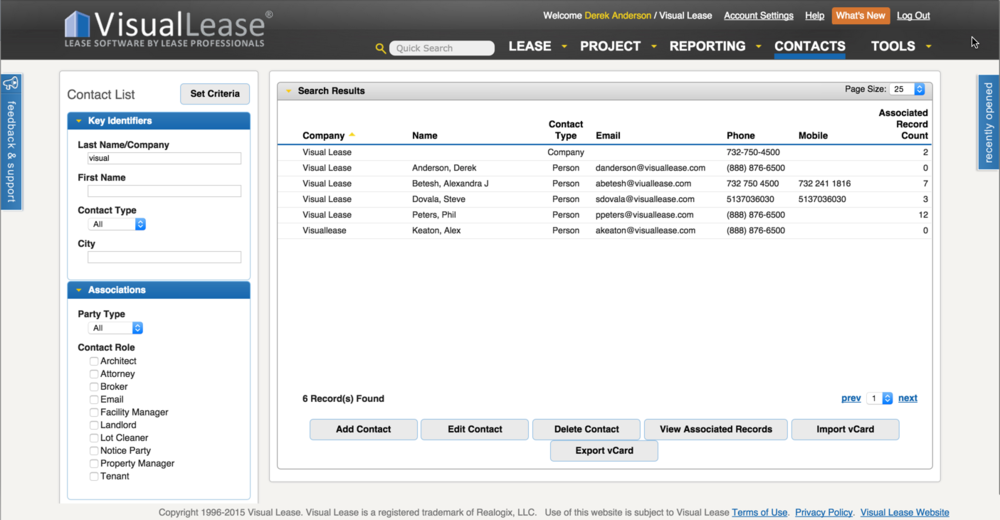 Use the Visual Lease Contacts module to manage all your relationships across your entire portfolio.