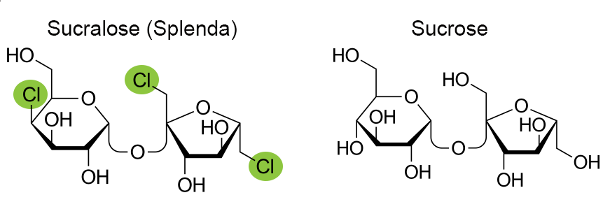 Small differences in chemical structure make a big difference. For splenda and sucrose the difference is in three highlighted chloride atoms... and whether you lose weight or not! ;)