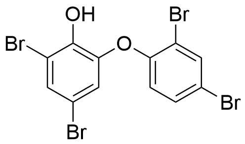 Polybrominated diphenyl ethers are common marine metabolites and are made by bacteria that live in sponges.