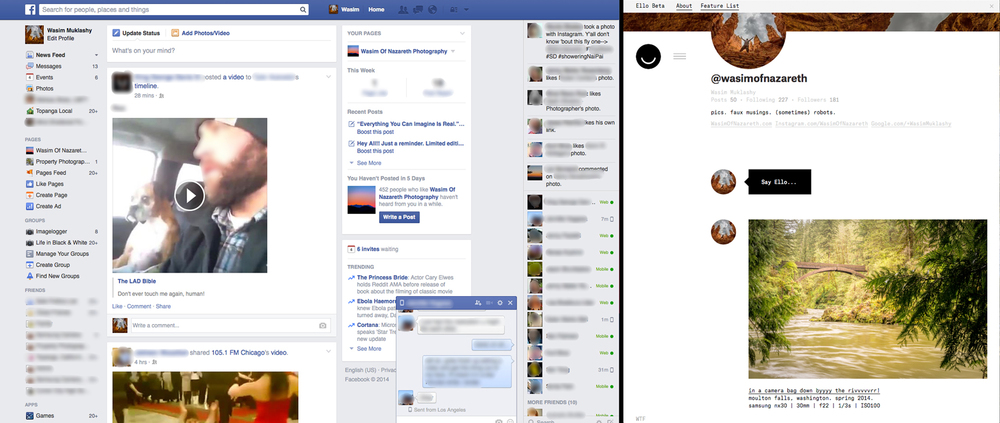 facebook versus ello comparison image