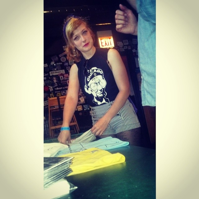 Setting up merch at the Beat Kitchen.  Spring 2015