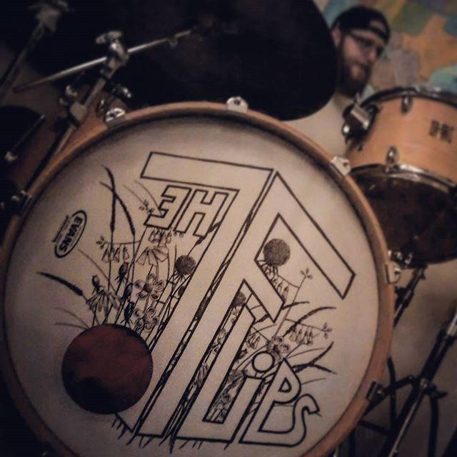 Mike's new bass drum head, courtesy of  Annette .  Summer 2015