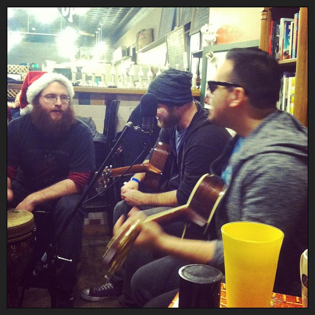 Christmastime acoustic show at a coffeeshop.  Winter 2012