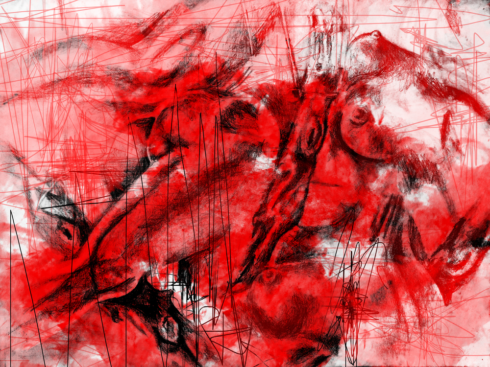 Playful Passion - Charcoal and Digital Manipulation - Print For Sale - Society6.com/gigglestorm