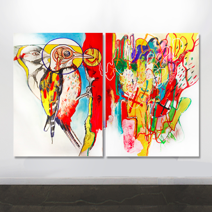 """The Anatomy of Self-Infliction"" - acrylic and oil on canvas - two panels of 60"" X 48"" - SOLD"