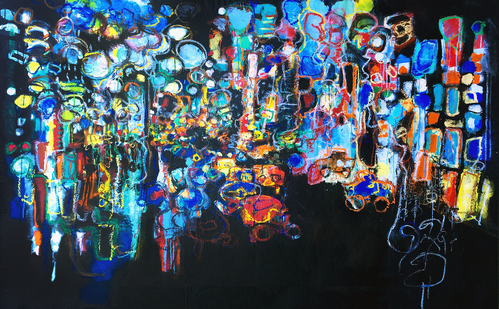 """The City of Lights"" -- An abstract expressionist rendering capturing the energy of the NYC times square or any city in the world that contains a large conglomeration of people and its traffic."
