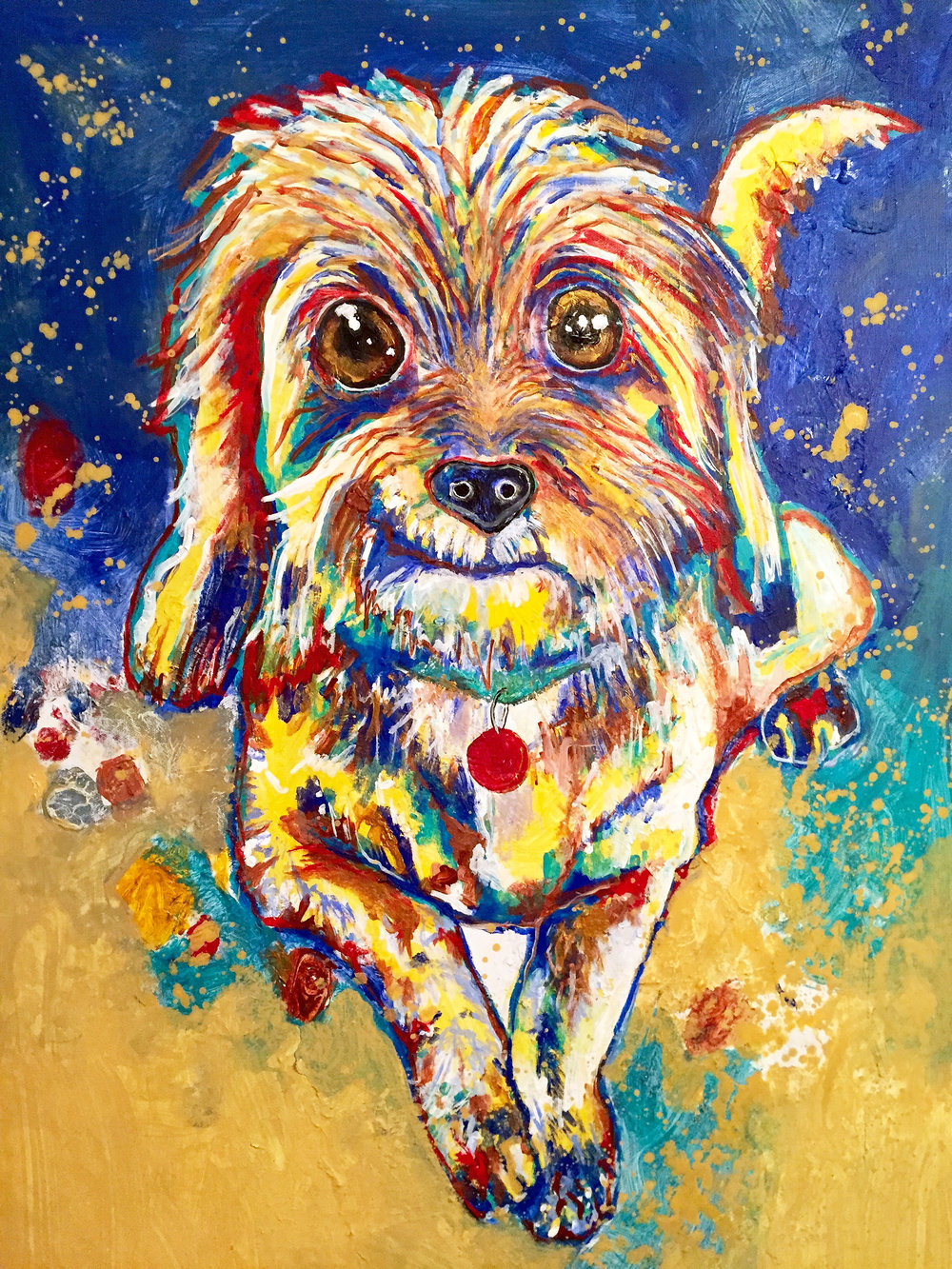 This painting for Tony Green was created for his entire family in tribute to the death of their family dog. This piece touched them so much they cried upon receiving the painting. I couldn't be more honored!
