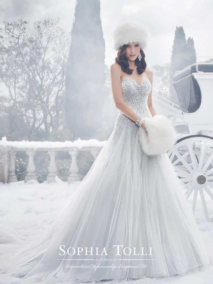 I feel that Elsa has definitely influenced the misty grey hue of 'Danni' by Sophia Tolli.