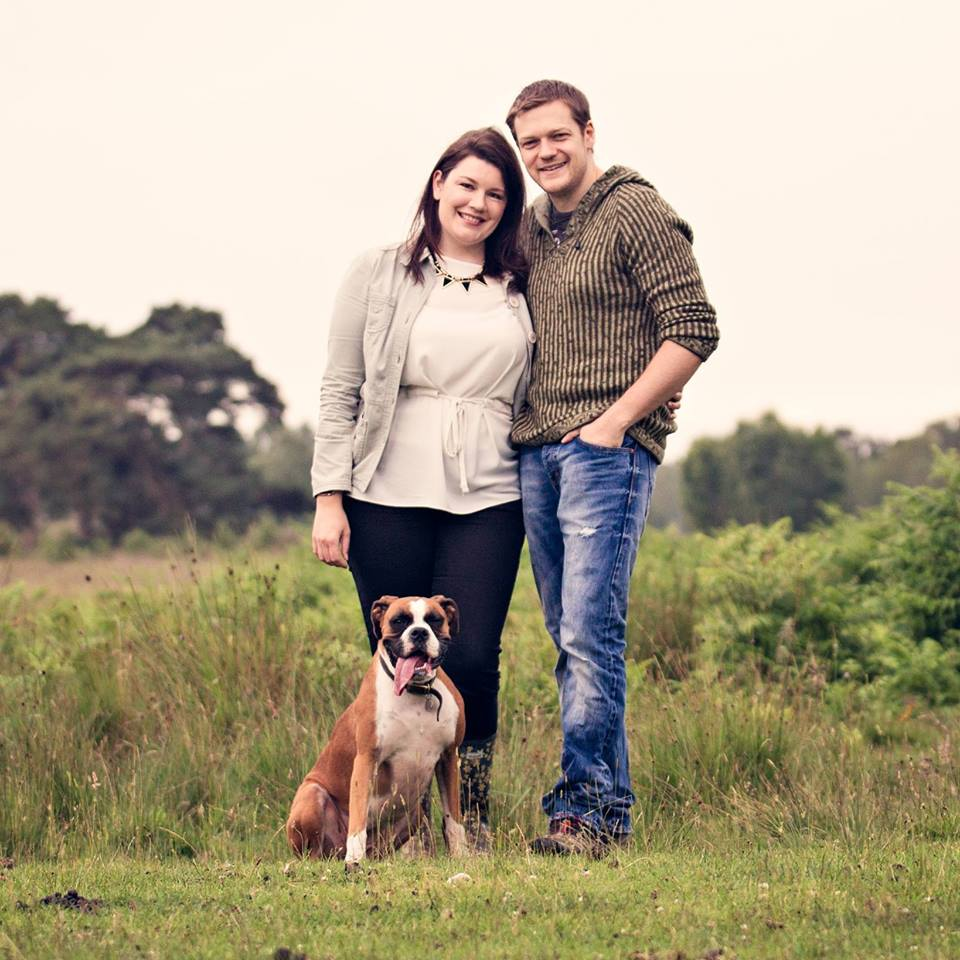 Louise with her husband Richard and dog Maisie.  Photo by www.pinklilyphotography.co.uk.