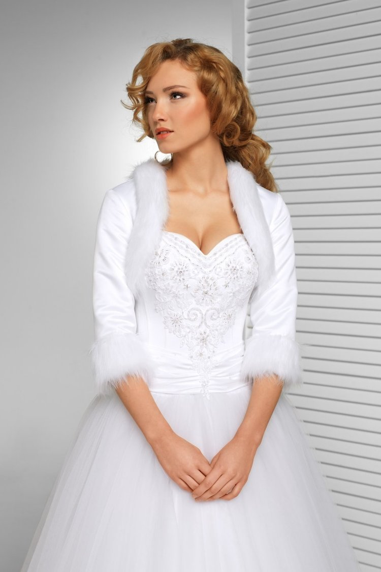Faux Fur Trimmed Satin Jacket: Wedding Dresses Saltaire - Leeds and ...