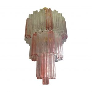 Italian Pink And White Glass Chandelier By Venini