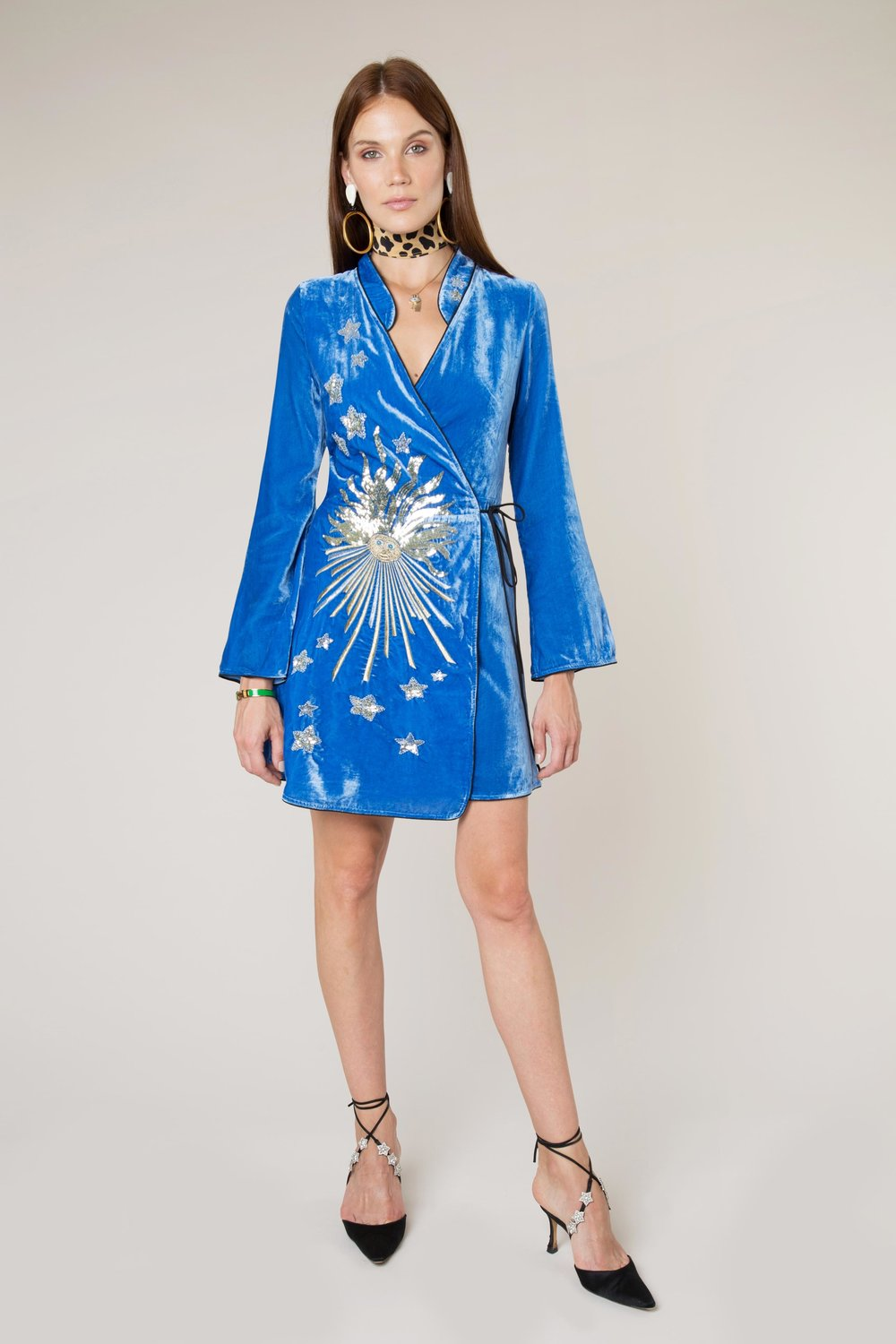 Rixo- Iris – Blue Embroidery Mini Wrap Dress- £295