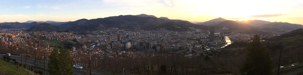 bilbao, spain from the funicular park on mount artxanda…