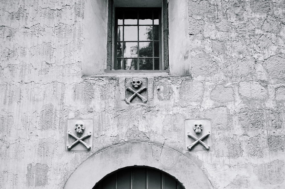 Ellingsen Photography Santa Barbara Day Trip Ilford B&W Film Mission Church Skulls