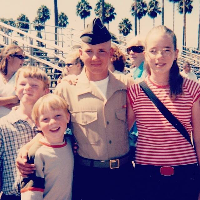 Jeremy graduates from Marine basic training, pictured with his sister and brothers.