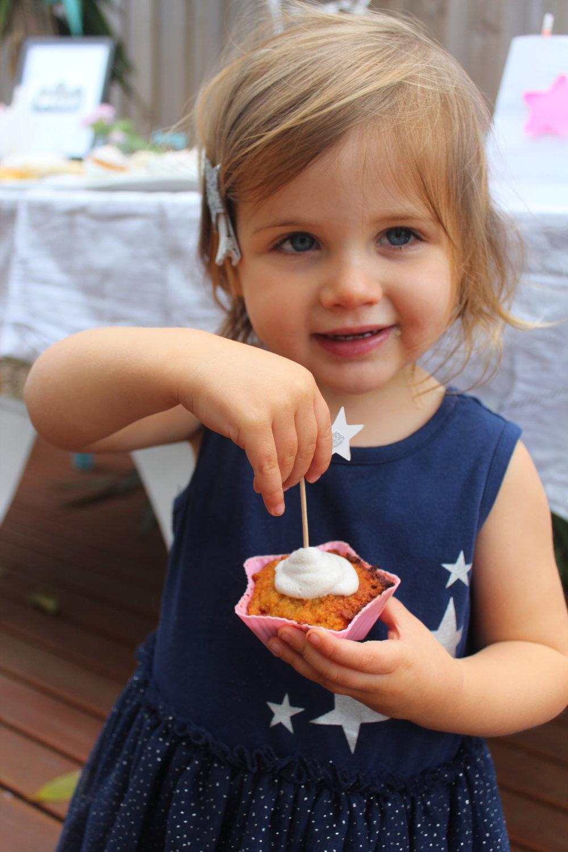 Skye with a Paleo Strawberry Cupcake