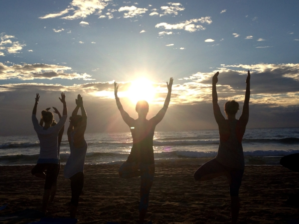 Sunrise Yoga on my Wedding Day at Manly Beach