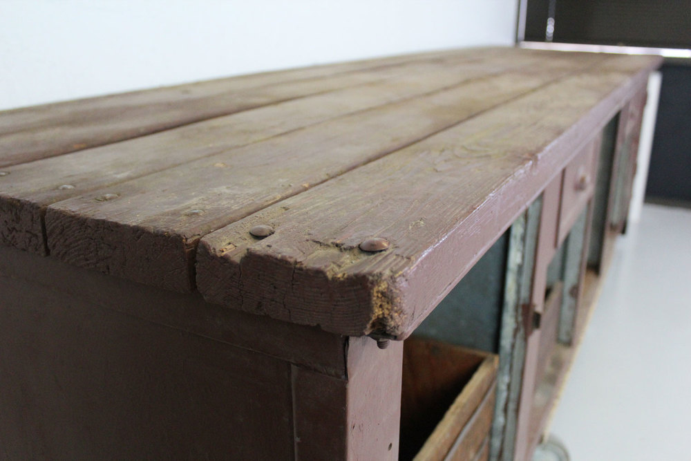 Vintage Industrial Metal Work Bench