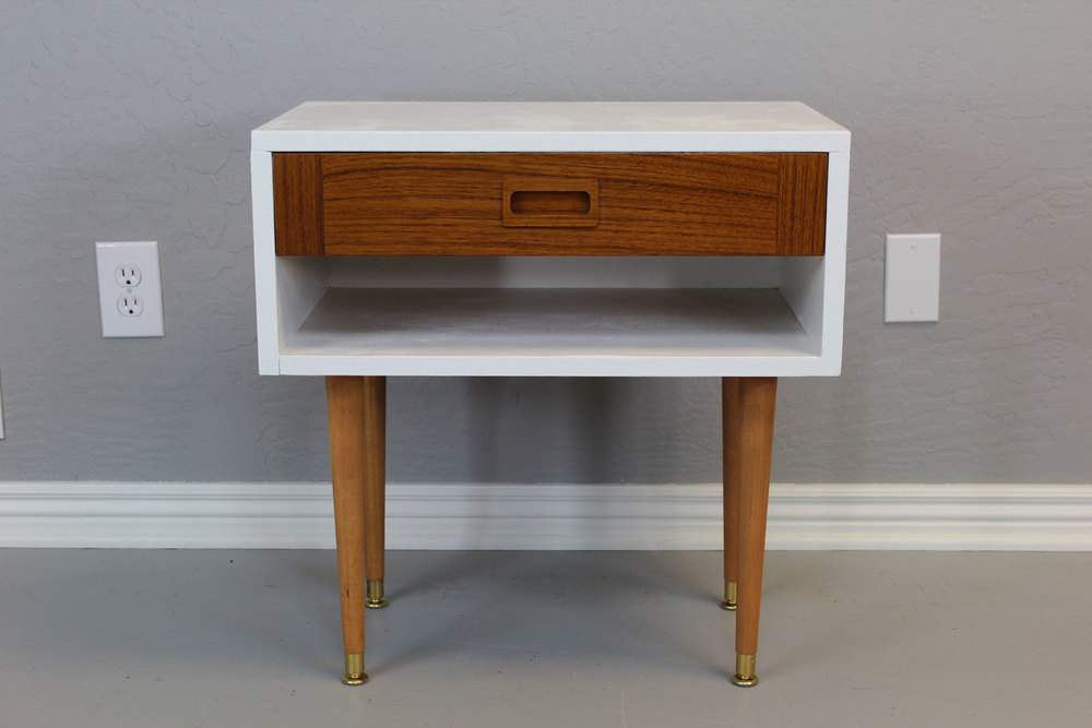 Painted Side Table With Teak Inset Drawer