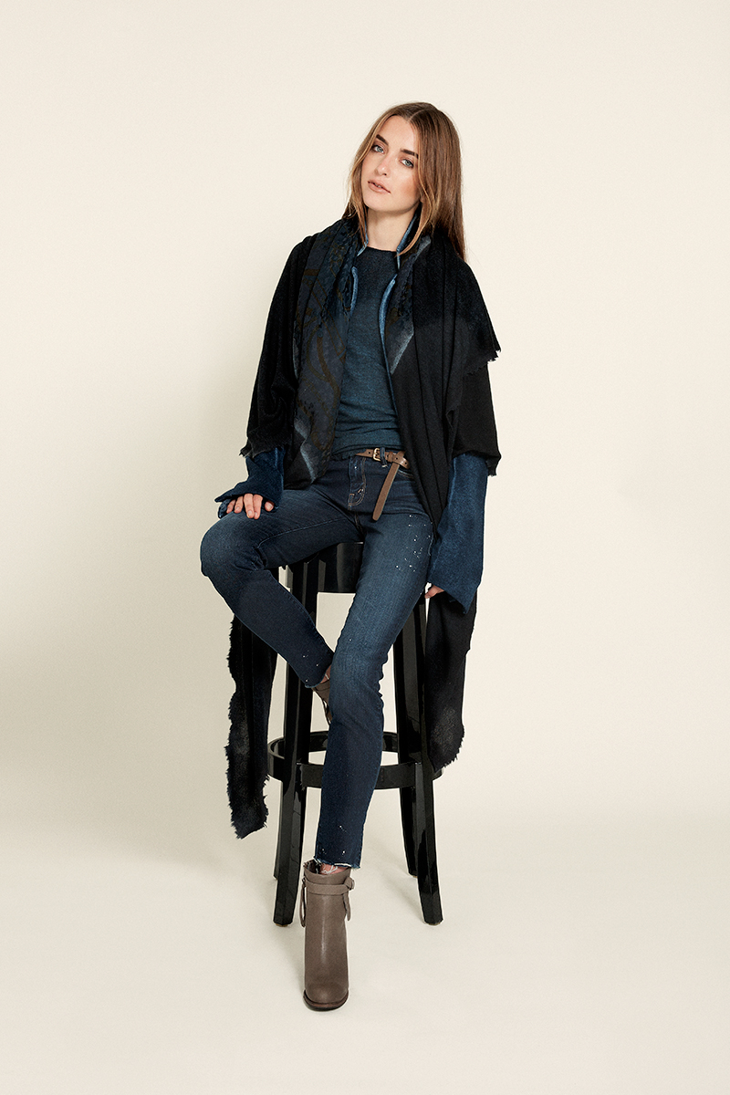 sweater and wrap scarf Avant Toi, jeans Mother Denim, boots Humanoid