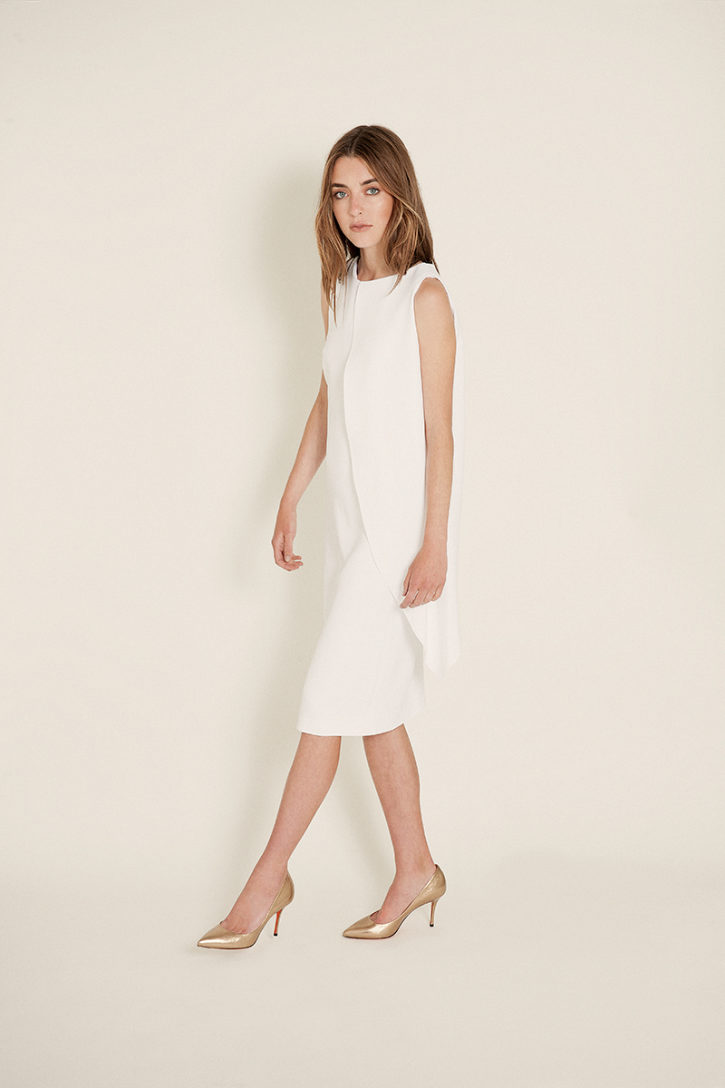 white crepe cape dress | osman gold pumps | santoni