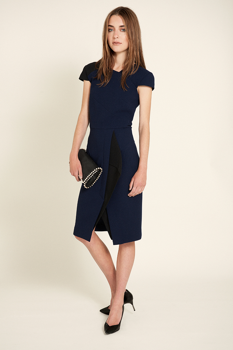 black & navy dress | Roland Mouret black pumps | Roland Mouret pearl clutch | Stella McCartney