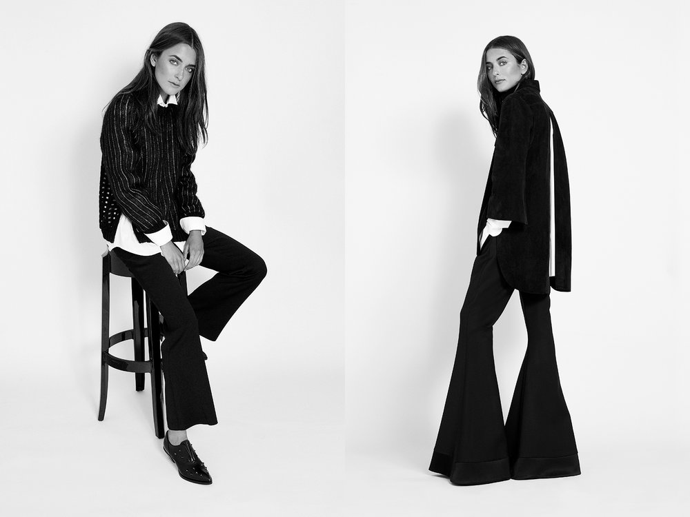 At Left  pinstripe sweater with zip sides | SEA white shirt |  Lareida cropped trouser | Ellery studded oxford | Alexa Wagner   At Right  bell pants satin band | Ellery suede jacket | Ellery white shirt | Lareida