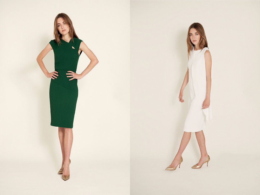 At Left  green dress | Roland Mouret gold pumps | Santoni   At Right  crepe cape dress | Osman gold pumps | Santoni