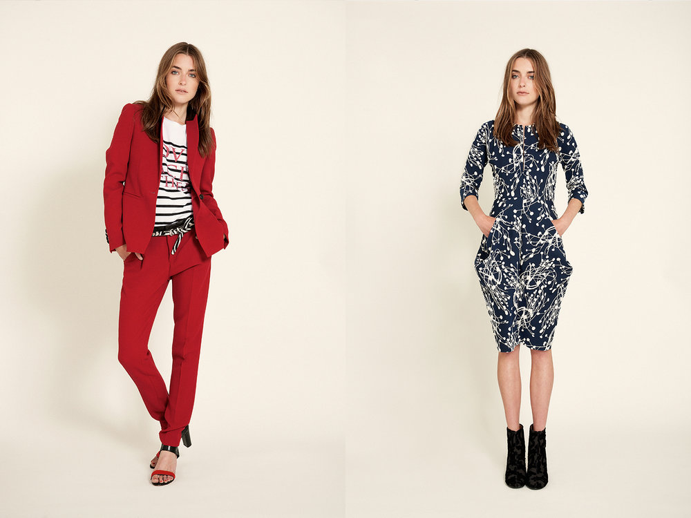 At Left  red suit | Each x Other zebra belt | Ronald Pineau shoes | Zero + Maria Cornejo    At Right  brocade boots | Stella McCartney dress | zero+ maria cornejo