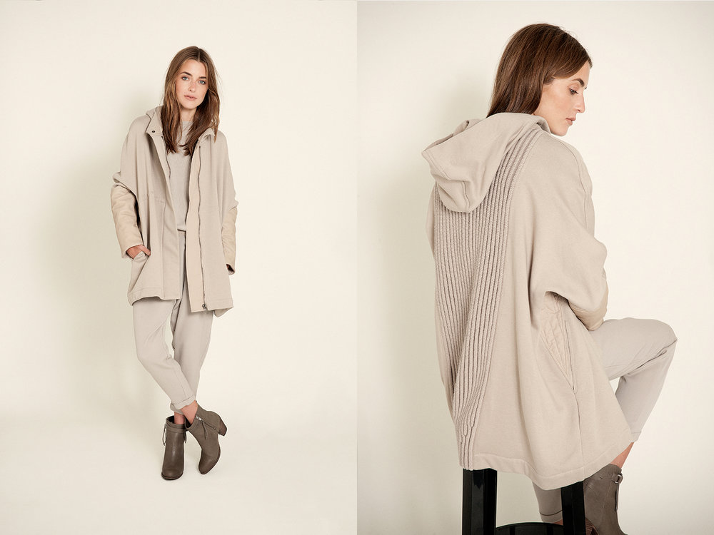 All clothing  Gentry Portifino  camel cashmere boatneck crop drawstring pant pant & hooded jacket  ankle boot | Humanoid